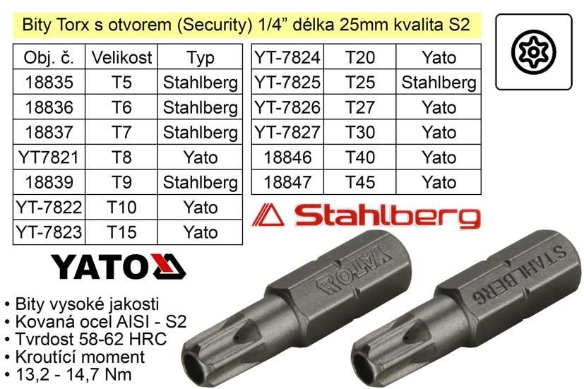 Bit Torx T15x25mm 1/4' Security Yato
