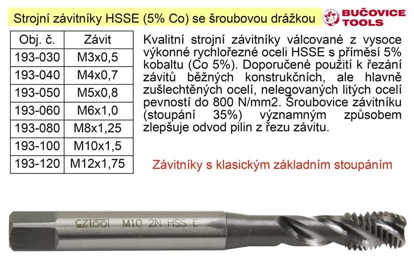 Strojní závitník  M3x0,5 HSSE šroubová drážka Co 5%
