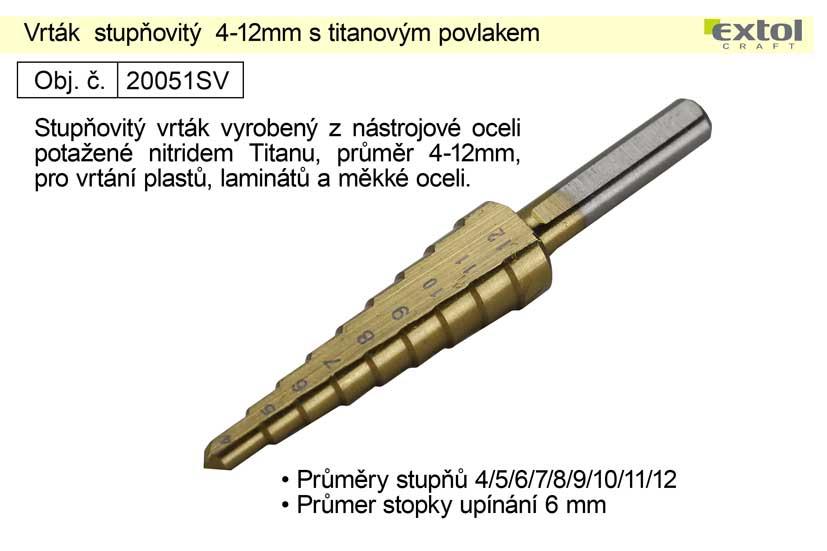 Vrták  stupňovitý 4-12mm s titanovým povlakem