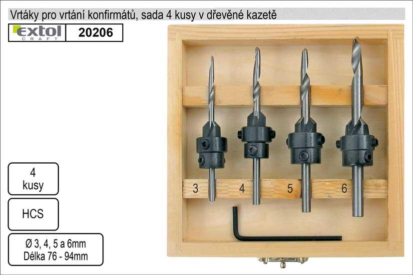 Vrtáky  do dřeva se záhlubníkem sada 4kusy 3 4 5 6 mm Nářadí 0.208Kg MA20206
