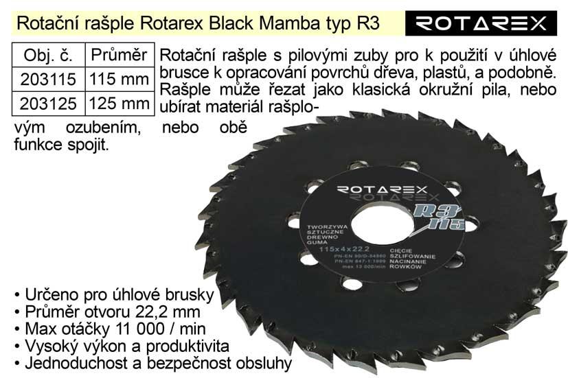 Rotační rašple Rotarex Black Mamba R3 / 125mm