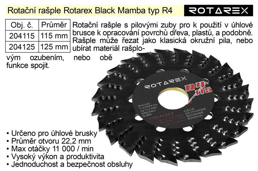 Rotační rašple Rotarex Black Mamba R4 / 125mm