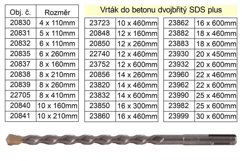 Vrták do betonu dvojbřitý SDS plus 6x260mm