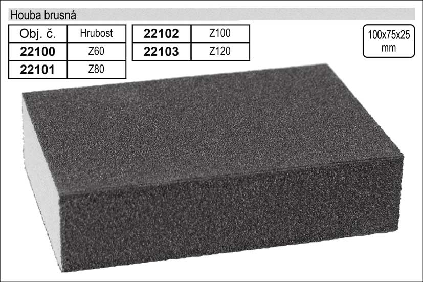 Houba brusná rozměr 100x70x25mm hrubost 120