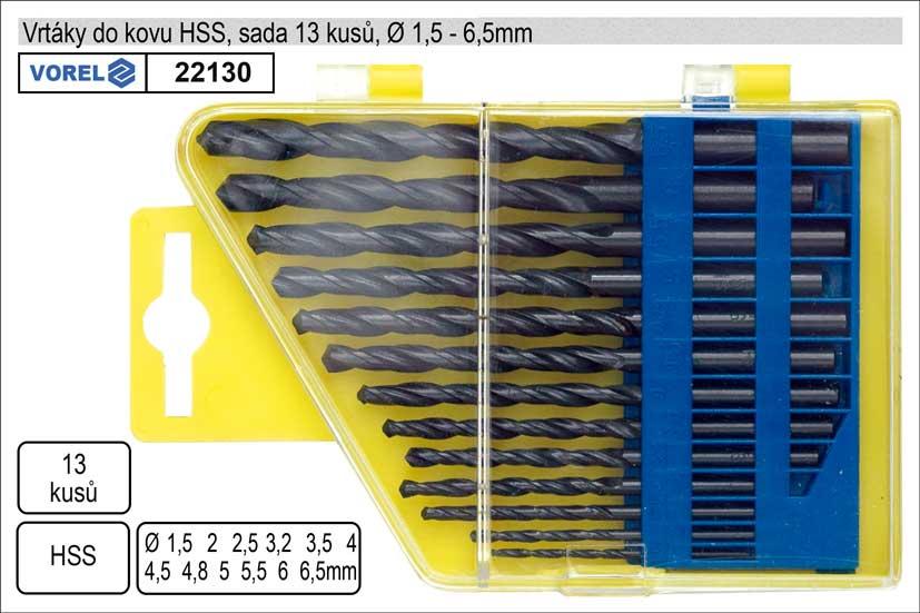 Vrtáky  do kovu v plastové kazetě 1-6,5mm HSS sada 13 kusů
