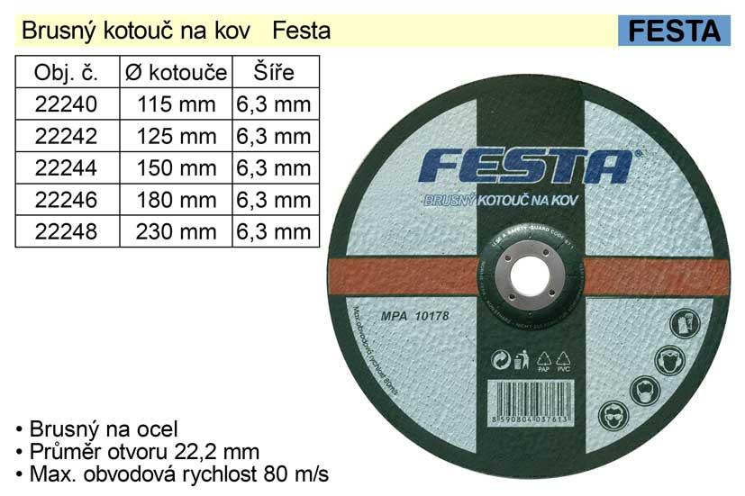 Kotouč  brusný na ocel  Festa 125 x 6,4 mm
