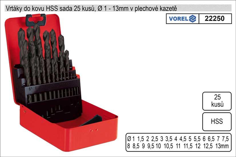 Vrtáky do kovu sada HSS 25 kusů 1-13mm v plechové kazetě Nářadí 1.067Kg TO-22250