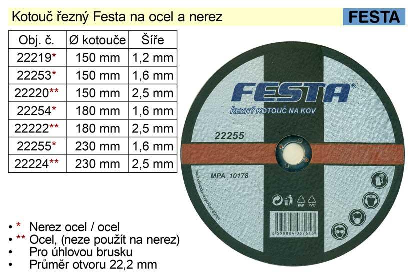 Kotouč  řezný na  ocel Festa 180x2,5mm