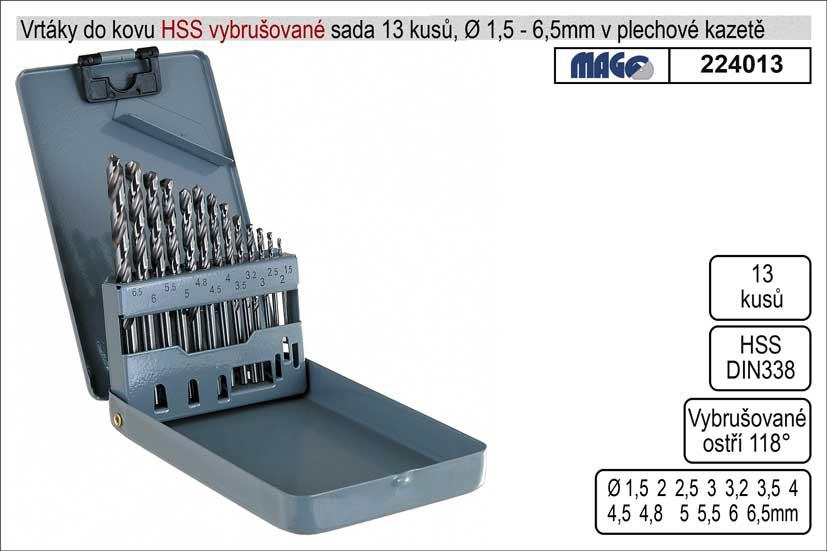 Vrtáky do kovu vybrušované 1,5-6mm HSS 13 kusů