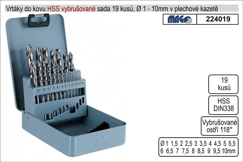 Vrtáky do kovu vybrušované 1-10mm HSS 19 kusů
