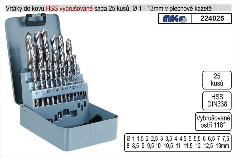 Vrtáky do kovu vybrušované 1-13mm HSS 25 kusů Nářadí-Sklad 2 |  Kg
