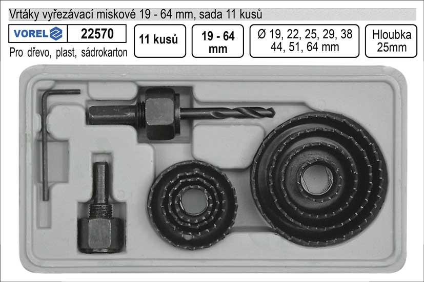 Vrtáky   vyřezávací miskové sada 11 dílů 19-64mm