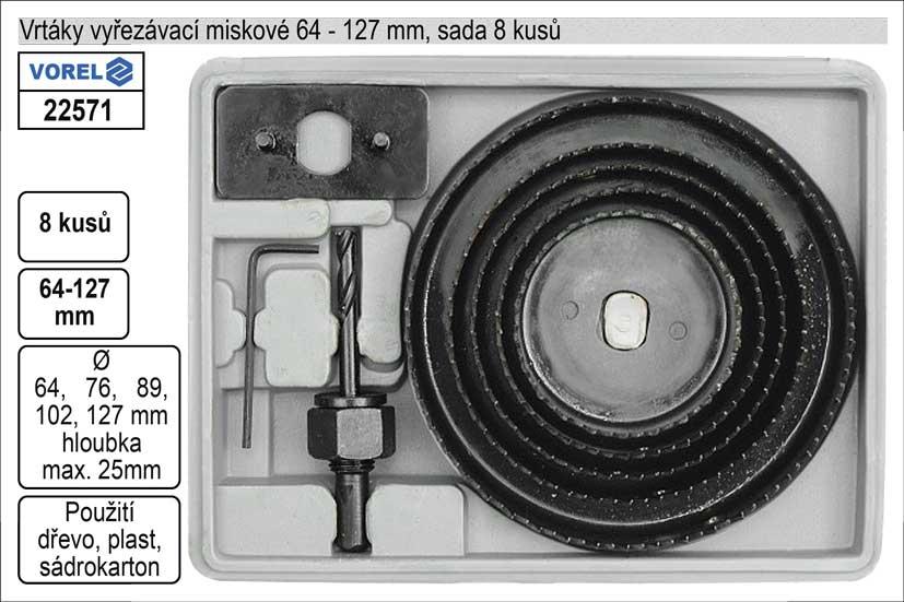 VOREL Vrtáky vyřezávací miskové sada 8 dílů 64-127mm