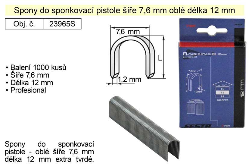 Spony do sponkovačky oblé šíře 7,6 mm délka 12 mm balení 1000 kusů Nářadí 0.154Kg 23965