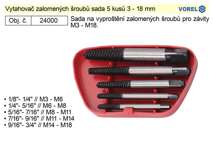Vytahovač zalomených šroubů sada 5 kusů 3 - 18 mm TO-24000