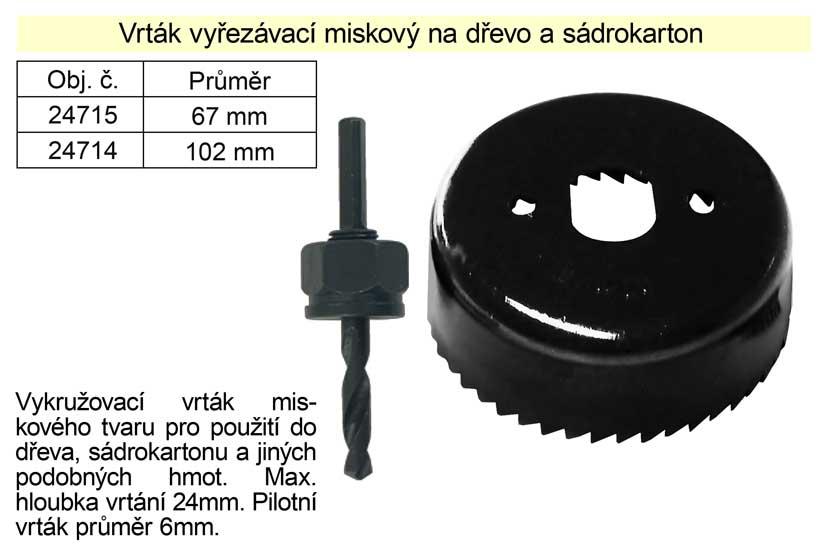 Vrták   vyřezávací miskový průměr 102mm na dřevo a sádrokarton