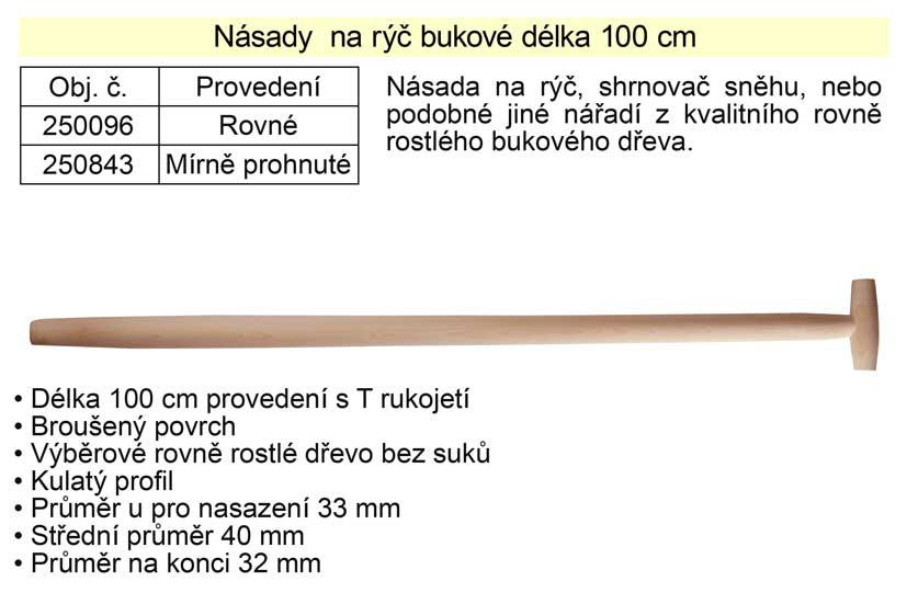 Násada na rýč T rukojeť rovná 100 cm buková