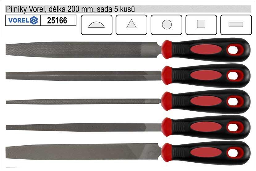 Pilníky VOREL délka 200mm sada 5 kusů