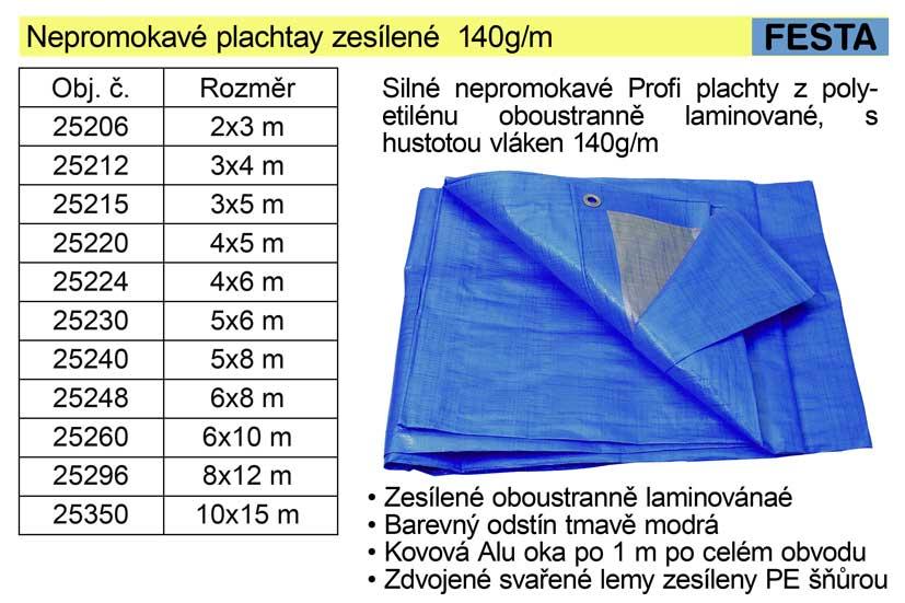 Nepromokavá plachta zesílená 10 x15 m 140g/m