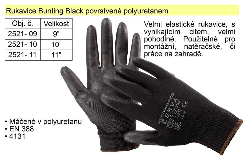 """Rukavice Bunting Black vel.  8"""" povrstvené polyuretanem"""
