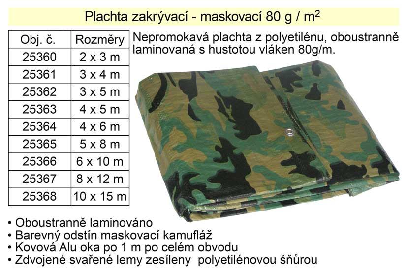 Nepromokavá plachta maskovací  8 x 12 m 80g/m