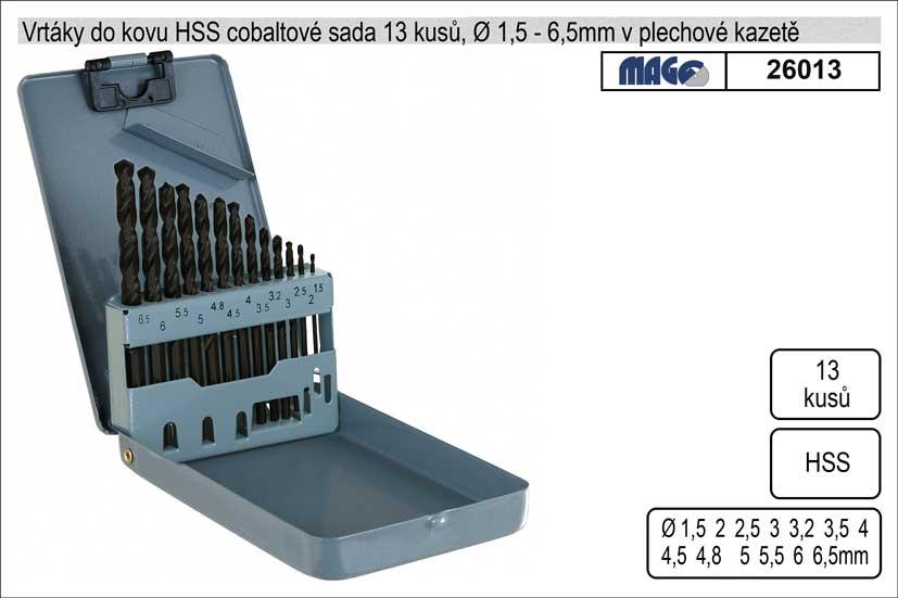 Vrtáky do kovu 1-6,5mm HSS 13 kusů v plechové kazet