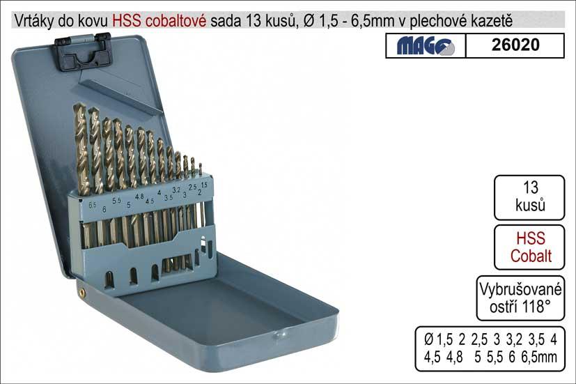 Vrtáky do kovu sada 13 kusů 1-6,5mm Cobaltové