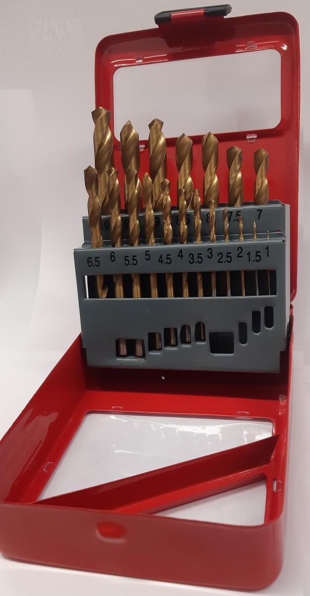 Vrtáky do kovu 1-10mm s titanovým povlakem sada HSS 19 kusů