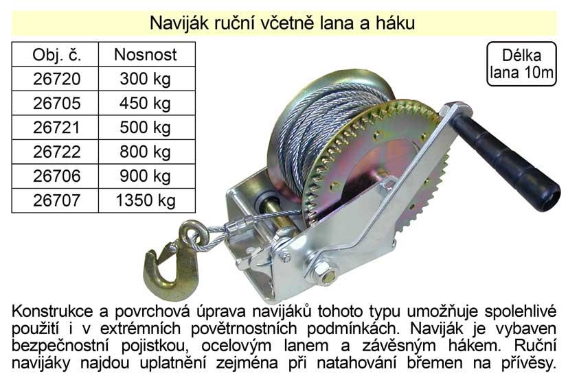 Naviják ruční včetně lana a háku, nosnost  800kg