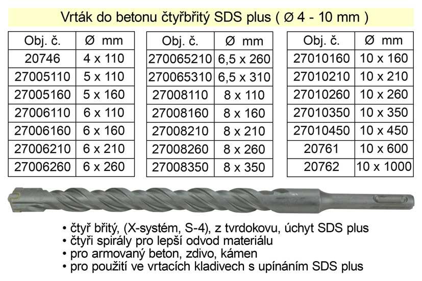 Vrták do betonu čtyřbřitý SDS plus 6x 110mm (TR4200501) Nářadí 2Kg 27006110