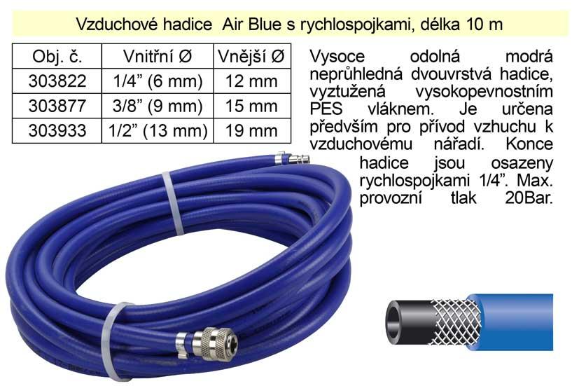 "Vzduchová hadice s rychlospojkami Air Blue  1/4"" délka 10m"