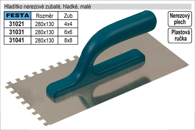 Hladítko nerezové zubaté 280x130mm, zub 4x4mm