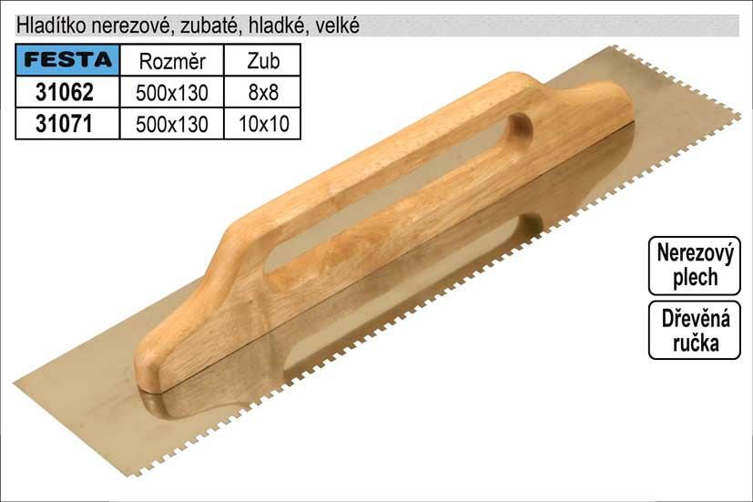 Hladítko nerezové zubaté 500x130mm, zub 10x10mm
