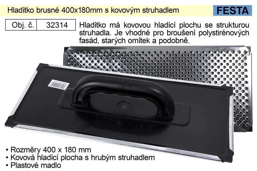 Hladítko brusné 400x180mm na fasádní polystyrén s kovovým struhadlem