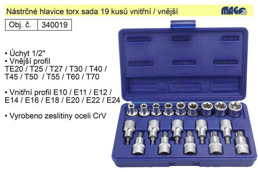 Nástrčné hlavice torx sada 19 kusů s vnitřním a vně
