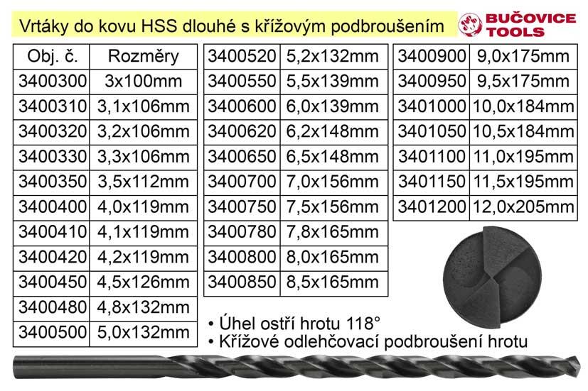 Vrták do kovu HSS  4,0x119mm prodloužený