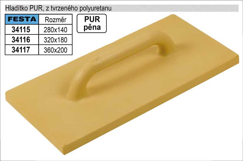 Hladítko PUR z tvrzeného polyuretanu, 280x140mm
