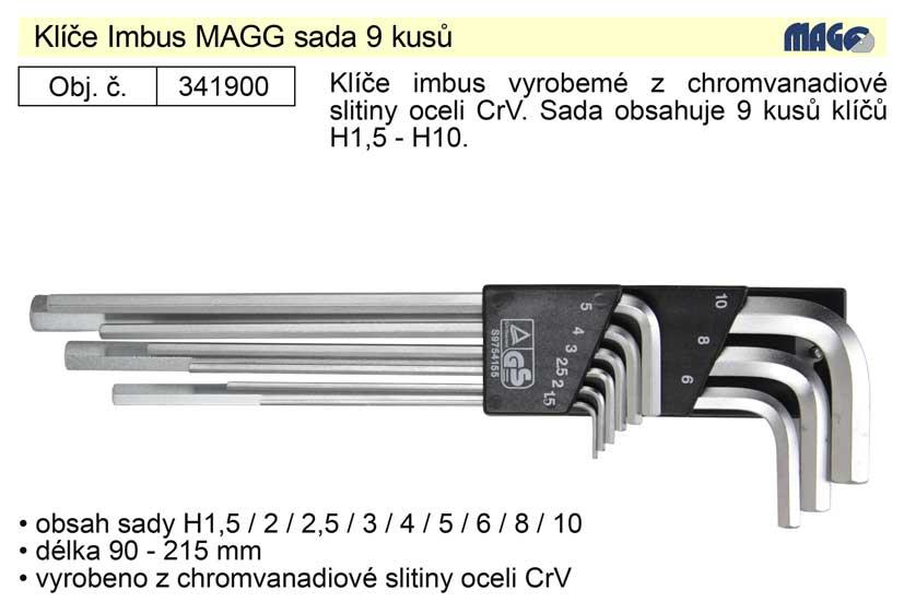 Klíče imbus zahnuté 1,5 - 10 mm dlouhé bez kuličky