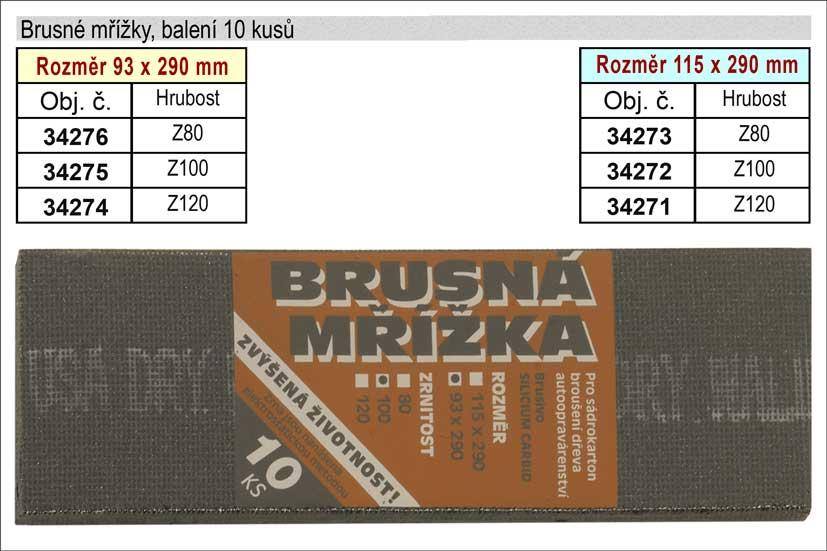 Brusné mřížky  93x290mm  hrubost 100 balení 10 kusů Nářadí 0.164Kg 34275