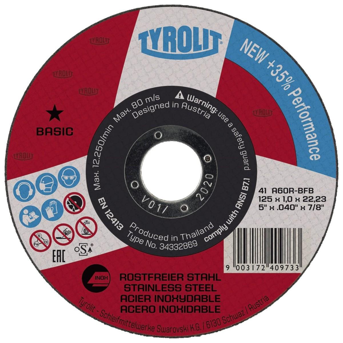 Kotouč řezný na ocel/nerez TYROLIT Basic 125x1,0mm Nářadí 0.033Kg 34332869