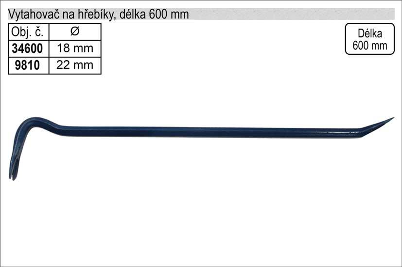 Páčidlo vytahovač hřebíků délka  600mm VOREL