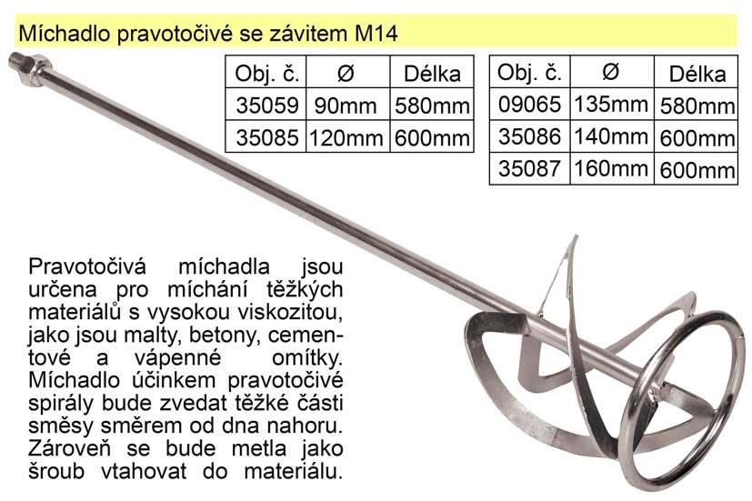 Míchadlo pravotočivé se závitem 160 x 600 mm