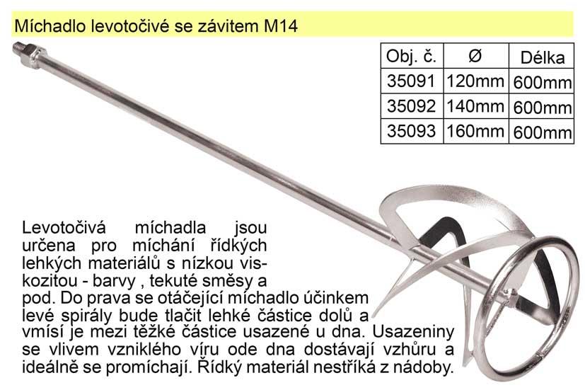 Míchadlo levotočivé se závitem 120 x 600 mm