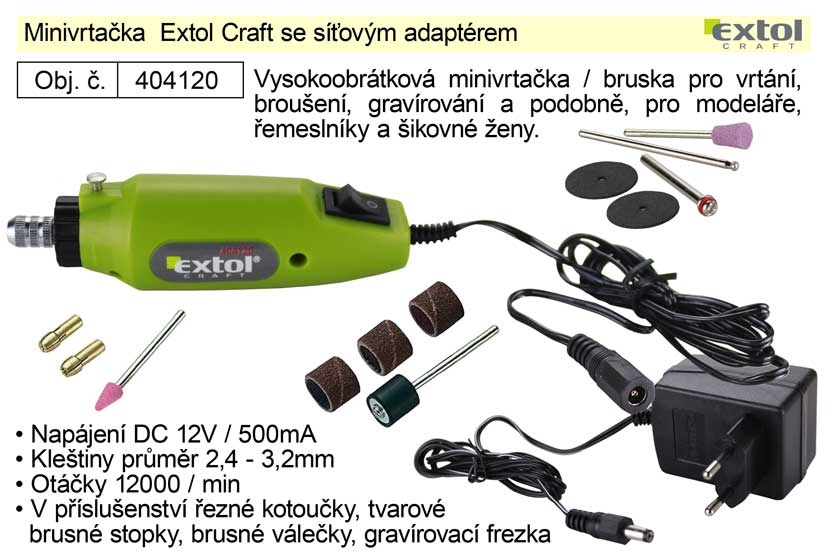 Minivrtačka Extol Craft se síťovým adaptérem