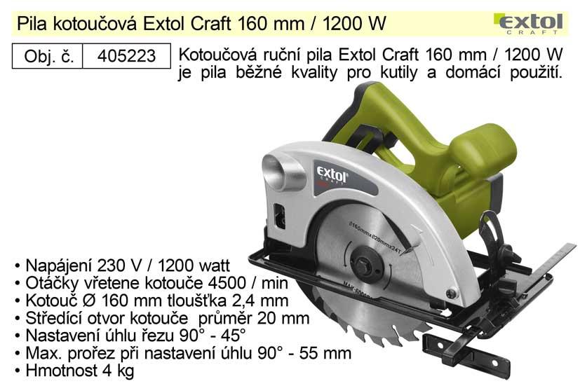 Pila kotoučová Extol Craft průměr 160 mm 1200W
