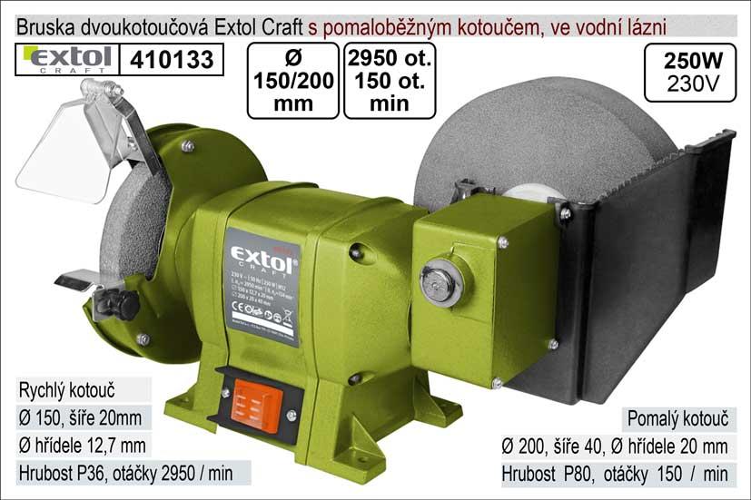 Bruska dvoukotoučová s pomaloběžným kotoučem 250 W Extol 410133