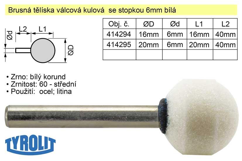 Brusné tělísko kulové se stopkou 6mm bílé D-20mm