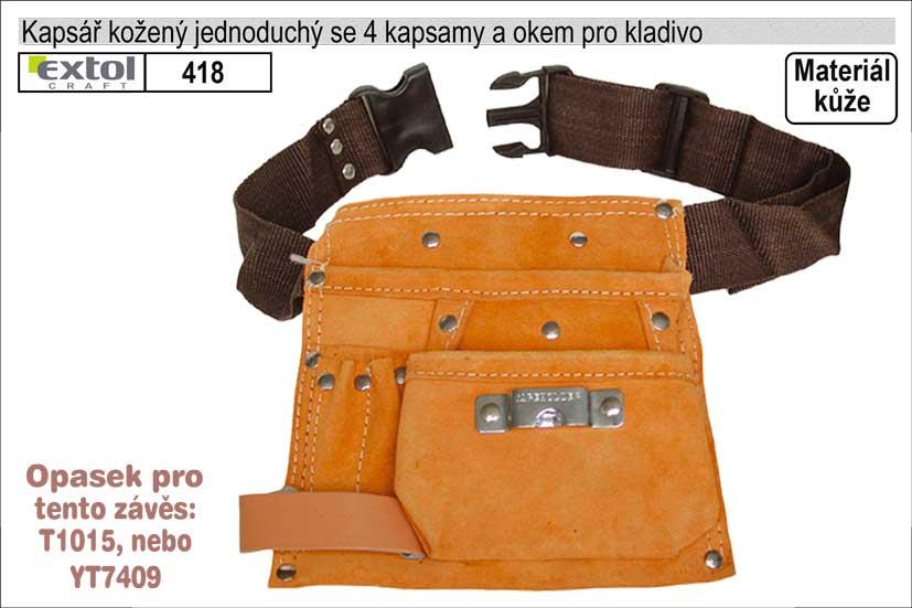 Kapsář kožený s 1 hlavní kapsou s opaskem
