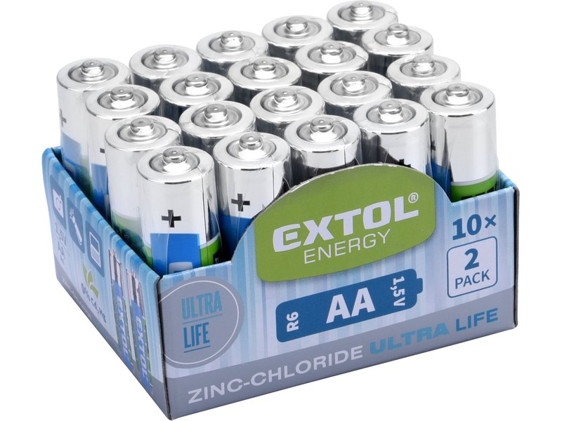EXTOL ENERGY baterie zink-chloridové, 20ks, 1,5V AA (R6)