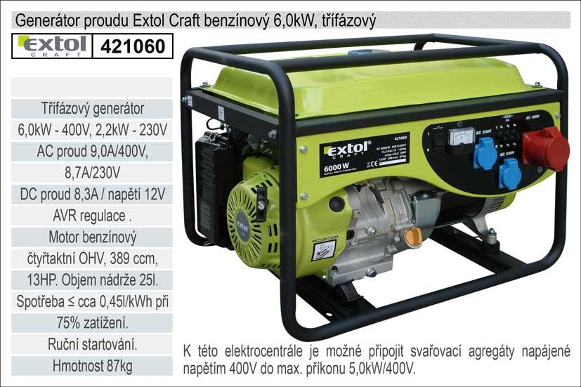 Elektrocentrála benzínová 13HP/6,0kW (400V) 2,2kW (230V), EXTOL CRAFT